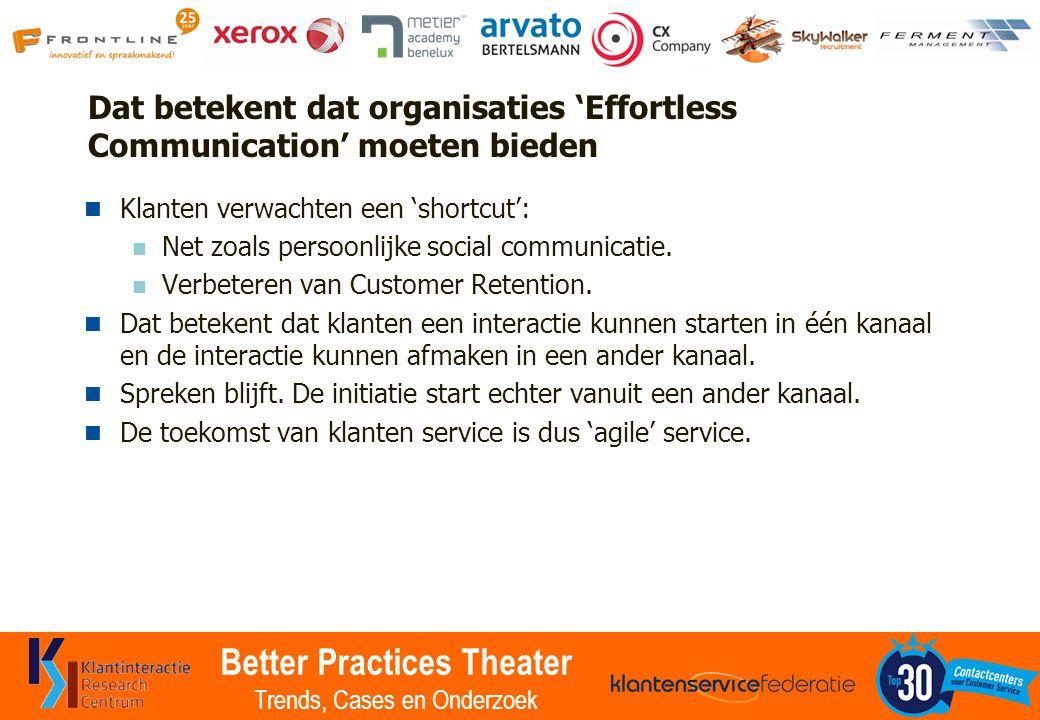 Better Practices Theater Trends, Cases en Onderzoek Dat betekent dat organisaties 'Effortless Communication' moeten bieden Klanten verwachten een 'sho