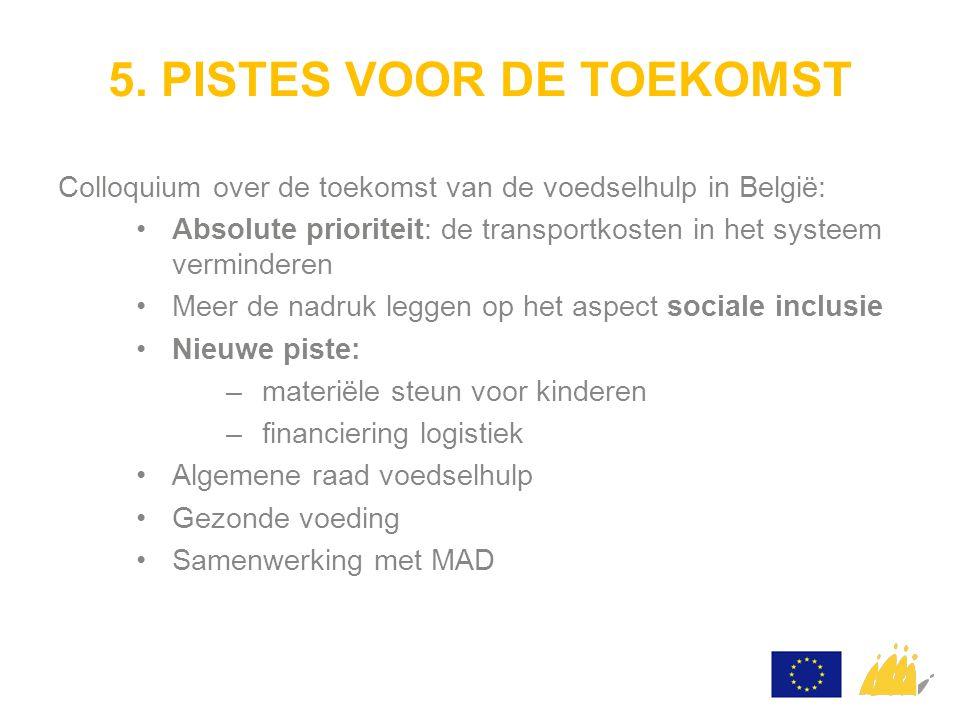 5. PISTES VOOR DE TOEKOMST Colloquium over de toekomst van de voedselhulp in België: Absolute prioriteit: de transportkosten in het systeem vermindere