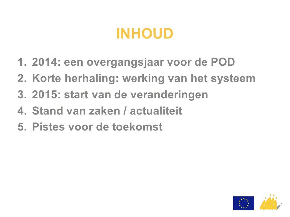 Continuïteit: POD MI heeft in 2014 het systeem overgenomen van het BIRB:  bedrag van 11.871.000€  780 bestellingen Opstellen van het operationeel programma 2014-2020 1.
