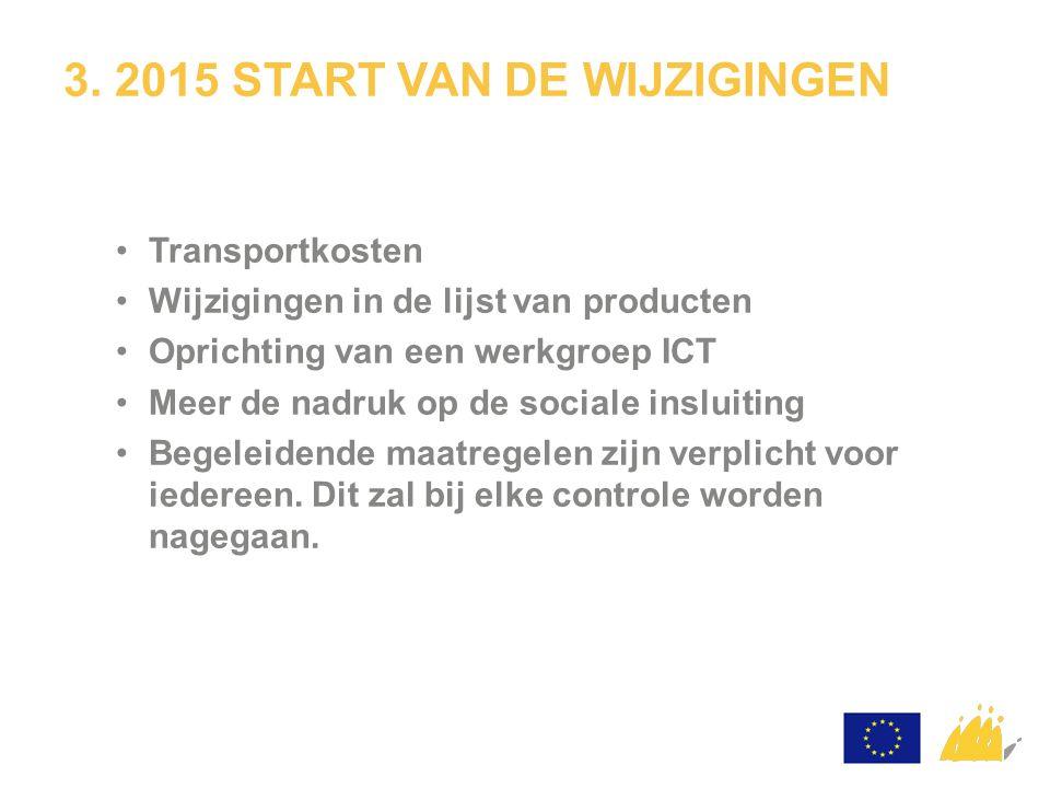 3. 2015 START VAN DE WIJZIGINGEN Transportkosten Wijzigingen in de lijst van producten Oprichting van een werkgroep ICT Meer de nadruk op de sociale i