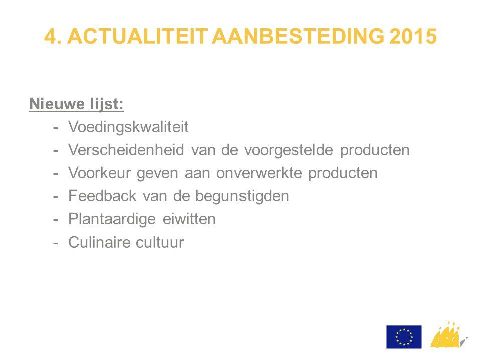 4. ACTUALITEIT AANBESTEDING 2015 Nieuwe lijst: -Voedingskwaliteit -Verscheidenheid van de voorgestelde producten -Voorkeur geven aan onverwerkte produ
