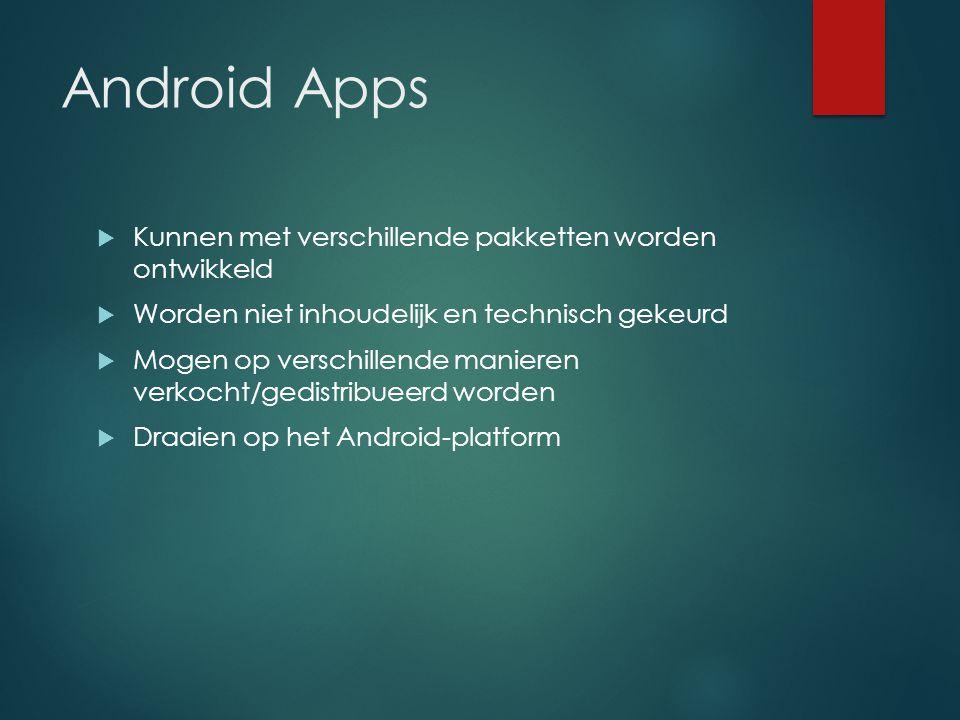 Android Apps  Kunnen met verschillende pakketten worden ontwikkeld  Worden niet inhoudelijk en technisch gekeurd  Mogen op verschillende manieren verkocht/gedistribueerd worden  Draaien op het Android-platform