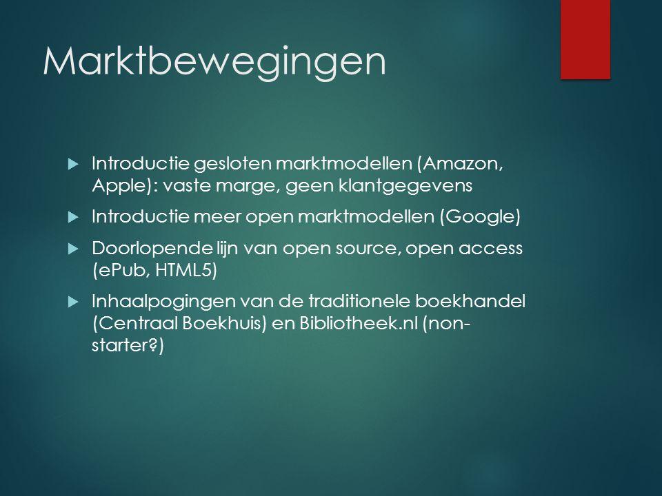 Marktbewegingen  Introductie gesloten marktmodellen (Amazon, Apple): vaste marge, geen klantgegevens  Introductie meer open marktmodellen (Google)  Doorlopende lijn van open source, open access (ePub, HTML5)  Inhaalpogingen van de traditionele boekhandel (Centraal Boekhuis) en Bibliotheek.nl (non- starter )