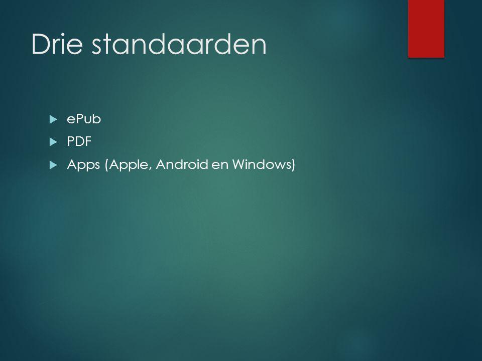 Drie standaarden  ePub  PDF  Apps (Apple, Android en Windows)