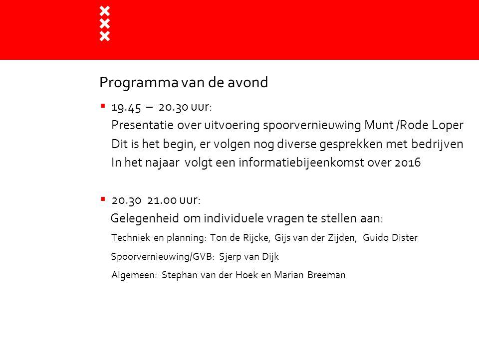 Programma van de avond  19.45 – 20.30 uur: Presentatie over uitvoering spoorvernieuwing Munt /Rode Loper Dit is het begin, er volgen nog diverse gesp
