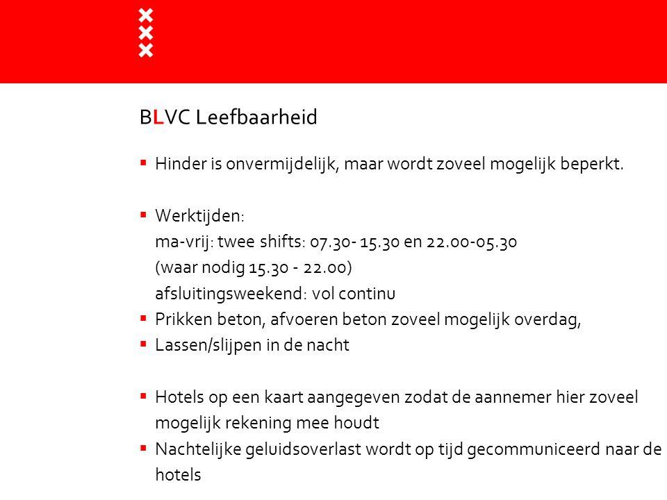 BLVC Leefbaarheid  Hinder is onvermijdelijk, maar wordt zoveel mogelijk beperkt.  Werktijden: ma-vrij: twee shifts: 07.30- 15.30 en 22.00-05.30 (waa