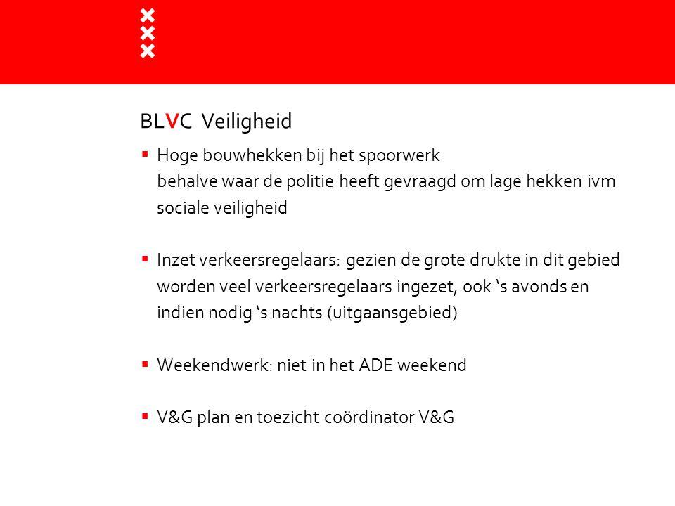 BLVC Veiligheid  Hoge bouwhekken bij het spoorwerk behalve waar de politie heeft gevraagd om lage hekken ivm sociale veiligheid  Inzet verkeersregel