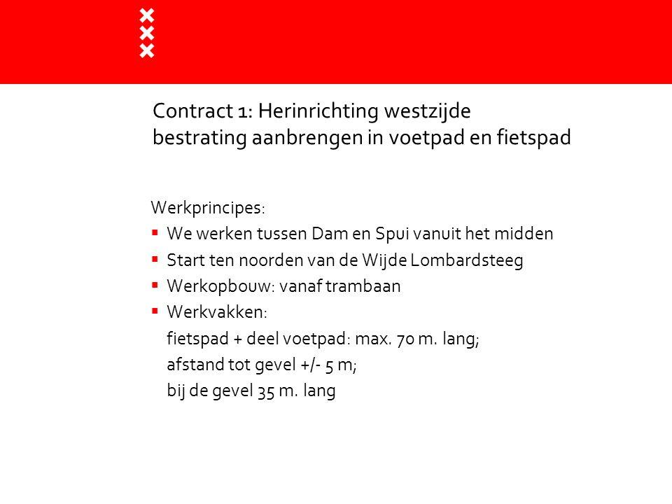 Contract 1: Herinrichting westzijde bestrating aanbrengen in voetpad en fietspad Werkprincipes:  We werken tussen Dam en Spui vanuit het midden  Sta