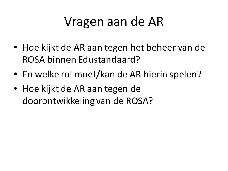Vragen aan de AR Hoe kijkt de AR aan tegen het beheer van de ROSA binnen Edustandaard? En welke rol moet/kan de AR hierin spelen? Hoe kijkt de AR aan
