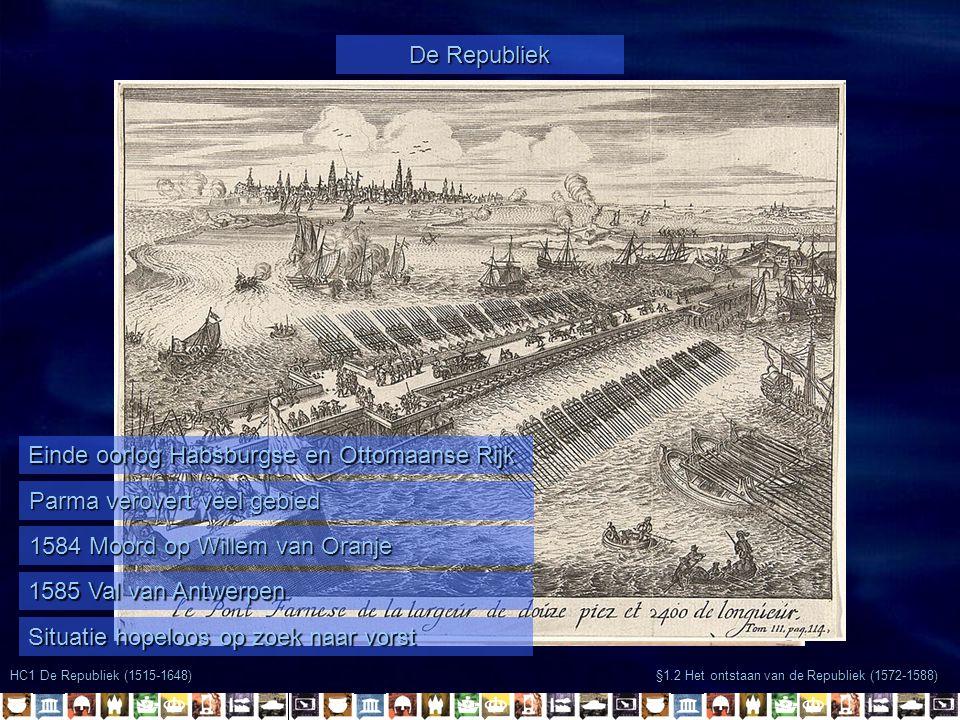 §1.2 Het ontstaan van de Republiek (1572-1588) HC1 De Republiek (1515-1648) De Republiek Einde oorlog Habsburgse en Ottomaanse Rijk Parma verovert vee