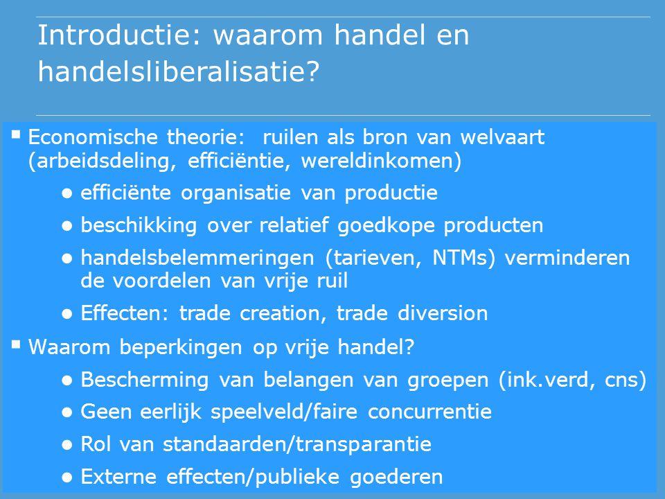 Introductie: waarom handel en handelsliberalisatie?  Economische theorie: ruilen als bron van welvaart (arbeidsdeling, efficiëntie, wereldinkomen) ●