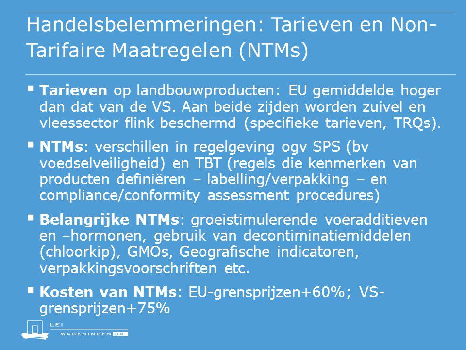 Handelsbelemmeringen: Tarieven en Non- Tarifaire Maatregelen (NTMs)  Tarieven op landbouwproducten: EU gemiddelde hoger dan dat van de VS. Aan beide