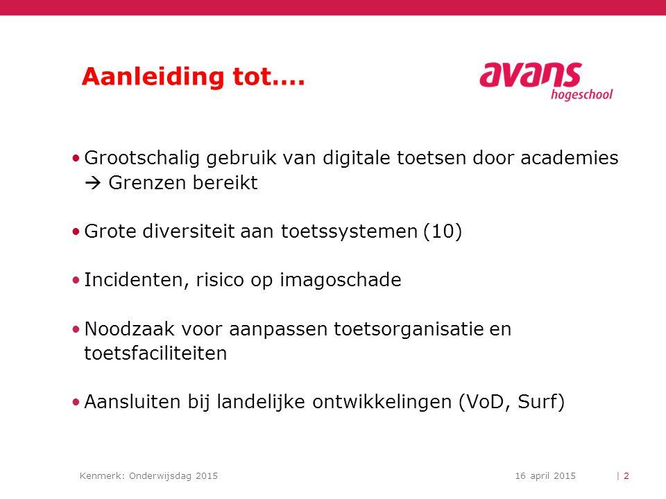 Kenmerk: Onderwijsdag 201516 april 2015 Aanleiding tot…. Grootschalig gebruik van digitale toetsen door academies  Grenzen bereikt Grote diversiteit