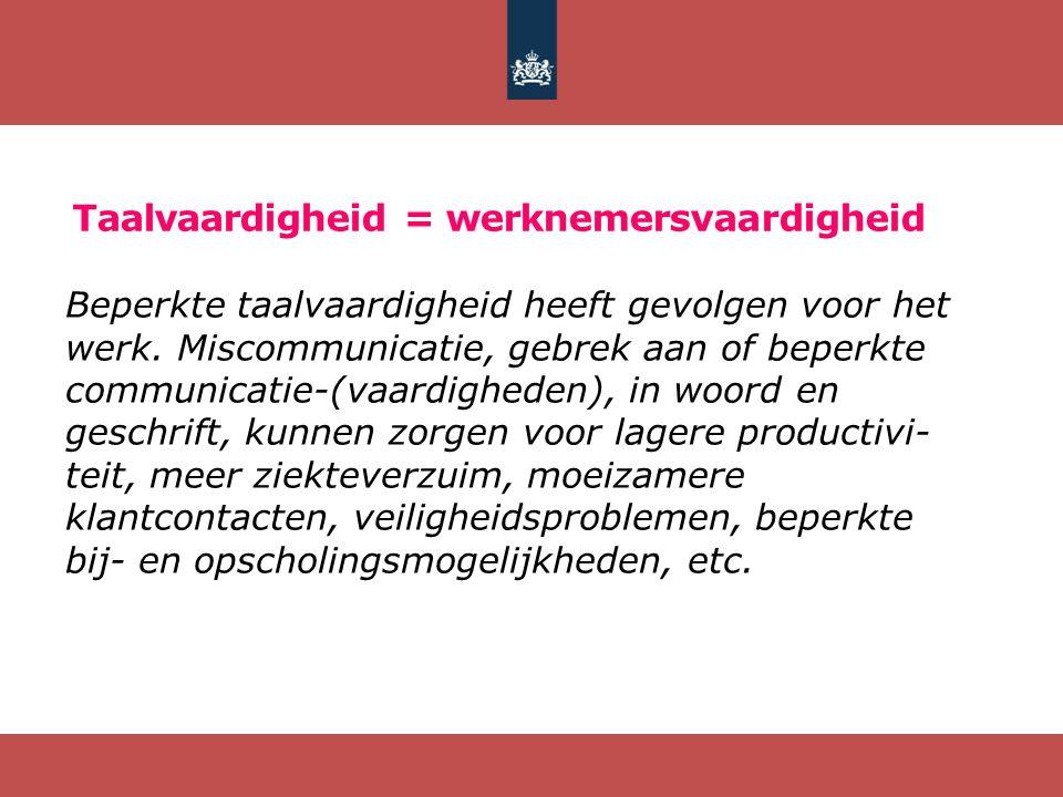 Taalvaardigheid = werknemersvaardigheid Beperkte taalvaardigheid heeft gevolgen voor het werk. Miscommunicatie, gebrek aan of beperkte communicatie-(v