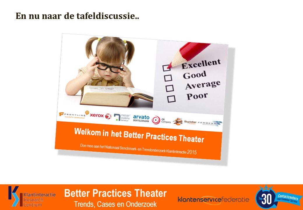 Better Practices Theater Trends, Cases en Onderzoek En nu naar de tafeldiscussie..
