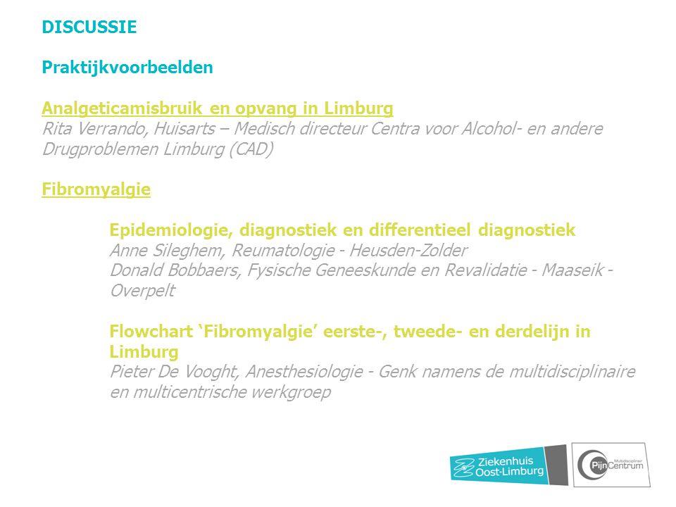 DISCUSSIE Praktijkvoorbeelden Analgeticamisbruik en opvang in Limburg Rita Verrando, Huisarts – Medisch directeur Centra voor Alcohol- en andere Drugp