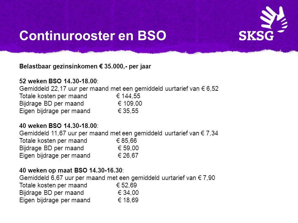Continurooster en BSO Belastbaar gezinsinkomen € 35.000,- per jaar 52 weken BSO 14.30-18.00: Gemiddeld 22,17 uur per maand met een gemiddeld uurtarief van € 6,52 Totale kosten per maand € 144,55 Bijdrage BD per maand € 109,00 Eigen bijdrage per maand € 35,55 40 weken BSO 14.30-18.00: Gemiddeld 11,67 uur per maand met een gemiddeld uurtarief van € 7,34 Totale kosten per maand € 85,66 Bijdrage BD per maand € 59,00 Eigen bijdrage per maand € 26,67 40 weken op maat BSO 14.30-16.30: Gemiddeld 6,67 uur per maand met een gemiddeld uurtarief van € 7,90 Totale kosten per maand € 52,69 Bijdrage BD per maand € 34,00 Eigen bijdrage per maand € 18,69