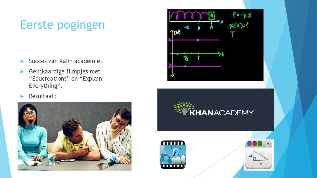 """Eerste pogingen  Succes van Kahn academie.  Gelijkaardige filmpjes met """"Educreations"""" en """"Explain Everything"""".  Resultaat:"""