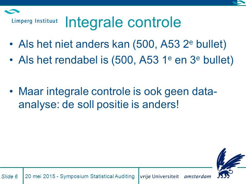 Integrale controle Als het niet anders kan (500, A53 2 e bullet) Als het rendabel is (500, A53 1 e en 3 e bullet) Maar integrale controle is ook geen data- analyse: de soll positie is anders.