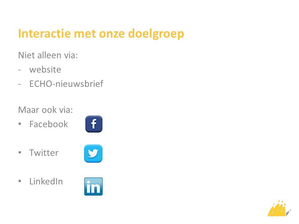 Interactie met onze doelgroep Niet alleen via: -website -ECHO-nieuwsbrief Maar ook via: Facebook Twitter LinkedIn