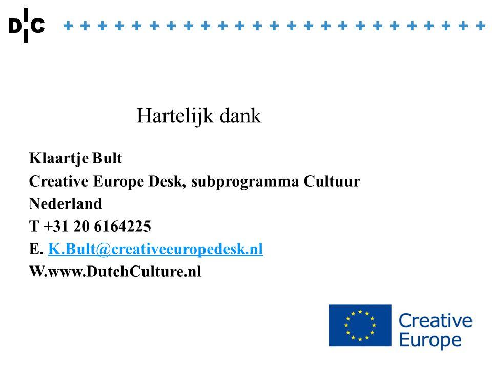 Klaartje Bult Creative Europe Desk, subprogramma Cultuur Nederland T +31 20 6164225 E. K.Bult@creativeeuropedesk.nlK.Bult@creativeeuropedesk.nl W.www.