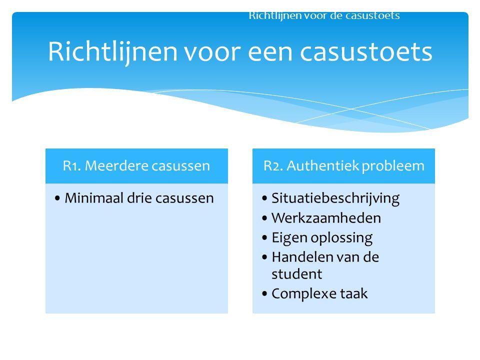 R1. Meerdere casussen Minimaal drie casussen R2. Authentiek probleem Situatiebeschrijving Werkzaamheden Eigen oplossing Handelen van de student Comple