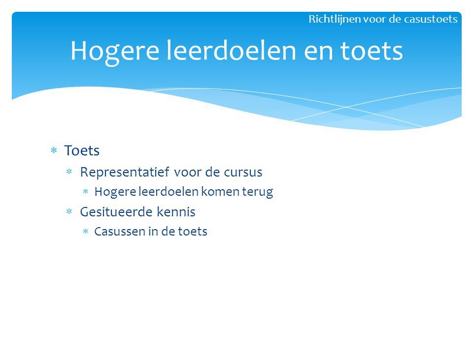  Toets  Representatief voor de cursus  Hogere leerdoelen komen terug  Gesitueerde kennis  Casussen in de toets Hogere leerdoelen en toets Richtli