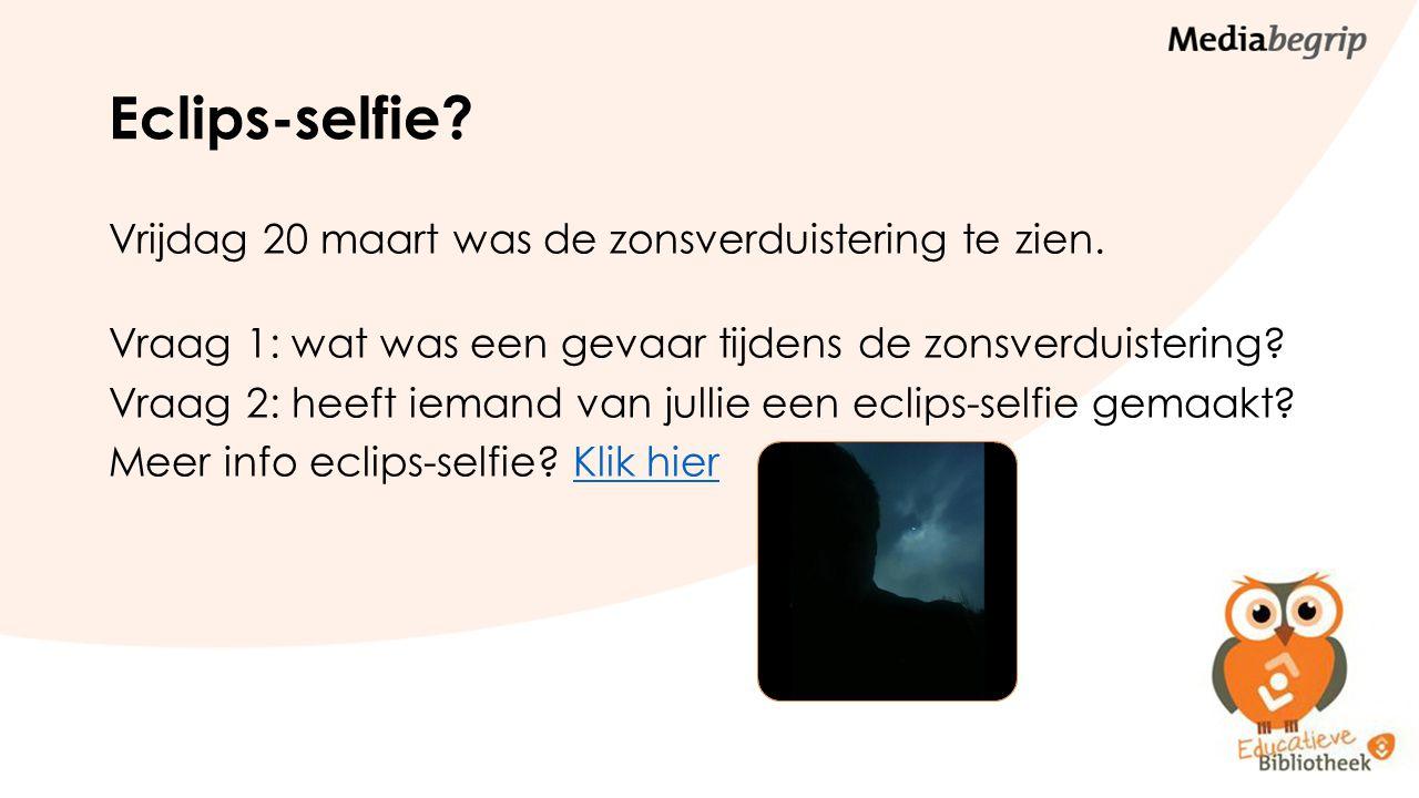 Eclips-selfie. Vrijdag 20 maart was de zonsverduistering te zien.