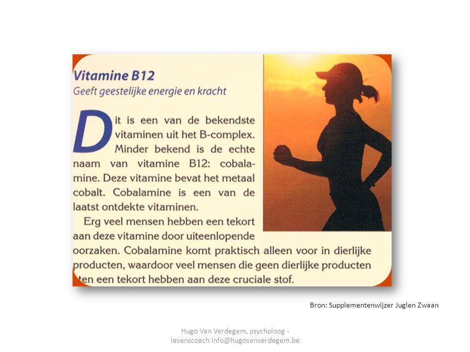 Vitamine B12 heel belangrijk Bron: Supplementenwijzer Juglen Zwaan Hugo Van Verdegem, psycholoog - levenscoach info@hugovanverdegem.be