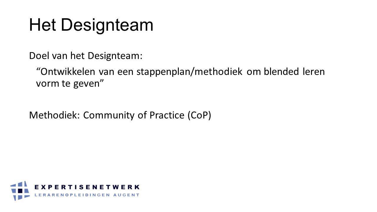 Het Designteam Doel van het Designteam: Ontwikkelen van een stappenplan/methodiek om blended leren vorm te geven Methodiek: Community of Practice (CoP)