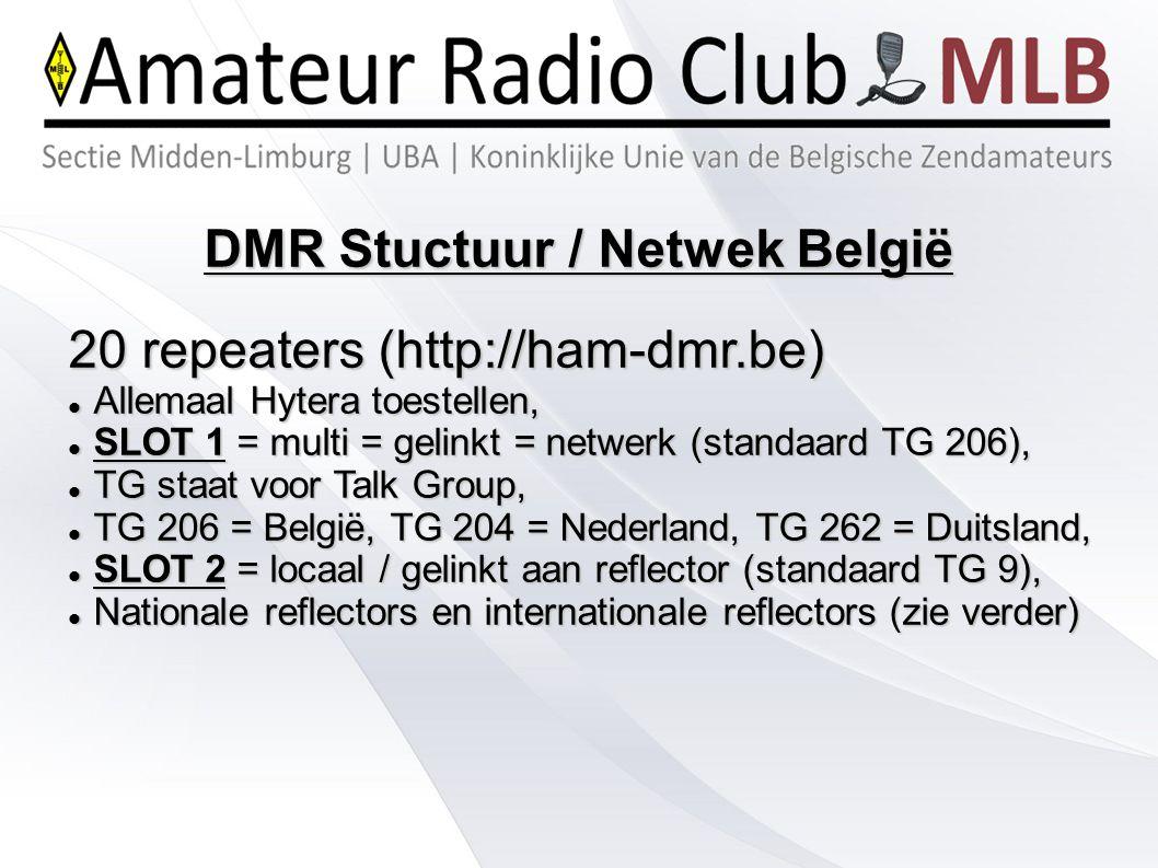 DMR Stuctuur / Netwek België 20 repeaters (http://ham-dmr.be) Allemaal Hytera toestellen, Allemaal Hytera toestellen, SLOT 1 = multi = gelinkt = netwe