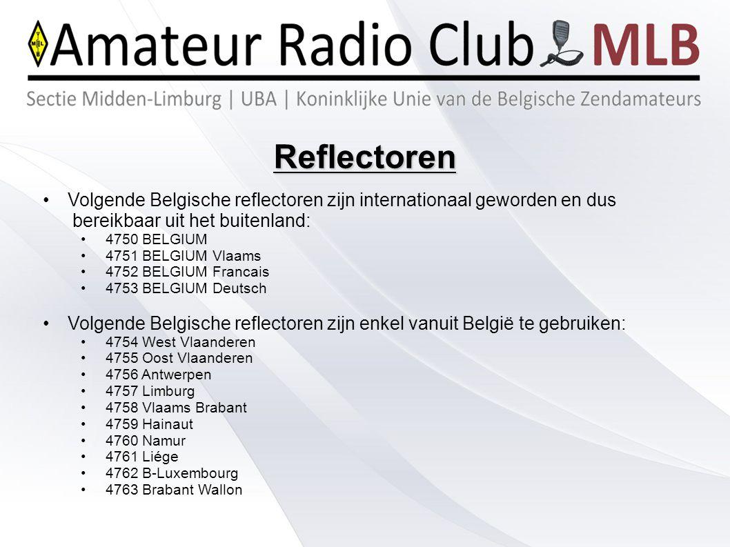 Reflectoren Actuele status: http://ham-dmr.be/diensten/nu-online/ Voorlopig manueel te gebruiken via: Menu – contacts – contact list of manual dial Belangrijke nummers: 5000 opvragen van reflector status, 4000 disconnect ontkoppelen repeater uit Ook internationale reflectoren vanuit België zijn mogelijk:Ook internationale reflectoren vanuit België zijn mogelijk: 4503 Zuid Nederland, 4199 Bodensee, Lijst met status: http://ham-dmr.nl/?page_id=827