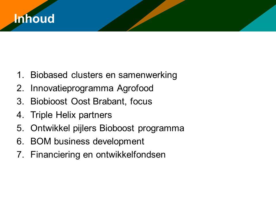 Inhoud 1.Biobased clusters en samenwerking 2.Innovatieprogramma Agrofood 3.Biobioost Oost Brabant, focus 4.Triple Helix partners 5.Ontwikkel pijlers B