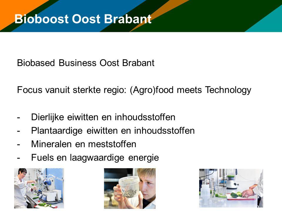 Bioboost Oost Brabant Biobased Business Oost Brabant Focus vanuit sterkte regio: (Agro)food meets Technology -Dierlijke eiwitten en inhoudsstoffen -Pl