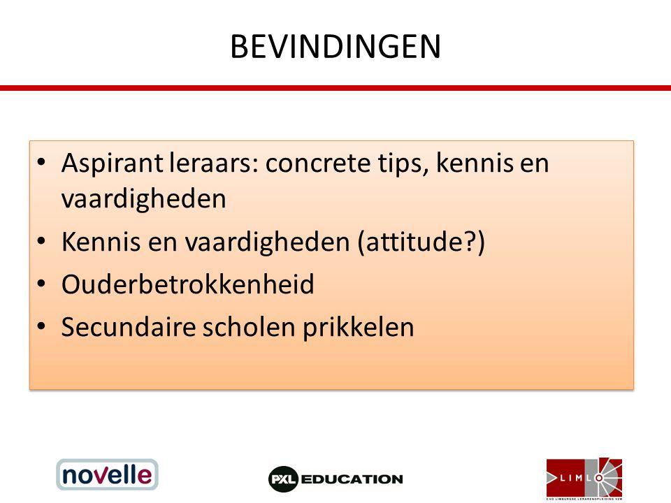 BEVINDINGEN Aspirant leraars: concrete tips, kennis en vaardigheden Kennis en vaardigheden (attitude?) Ouderbetrokkenheid Secundaire scholen prikkelen