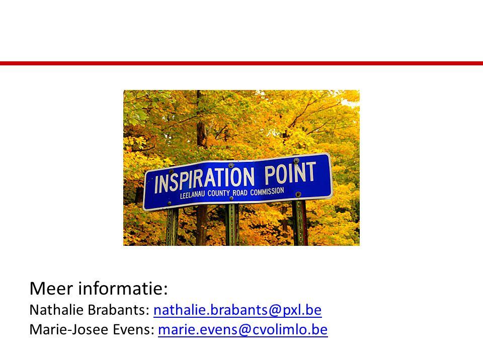 Meer informatie: Nathalie Brabants: nathalie.brabants@pxl.benathalie.brabants@pxl.be Marie-Josee Evens: marie.evens@cvolimlo.bemarie.evens@cvolimlo.be