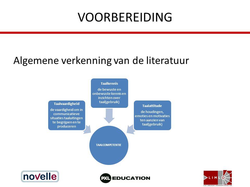 VOORBEREIDING Algemene verkenning van de literatuur TAALCOMPETENTIE Taalvaardigheid de vaardigheid om in communicatieve situaties taaluitingen te begr