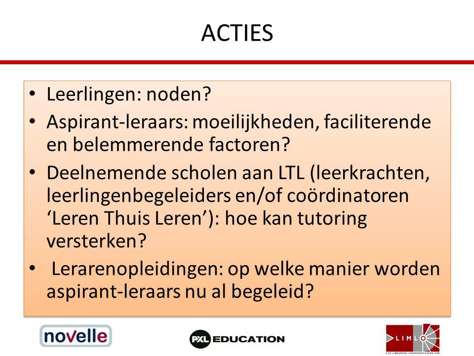 ACTIES Leerlingen: noden? Aspirant-leraars: moeilijkheden, faciliterende en belemmerende factoren? Deelnemende scholen aan LTL (leerkrachten, leerling