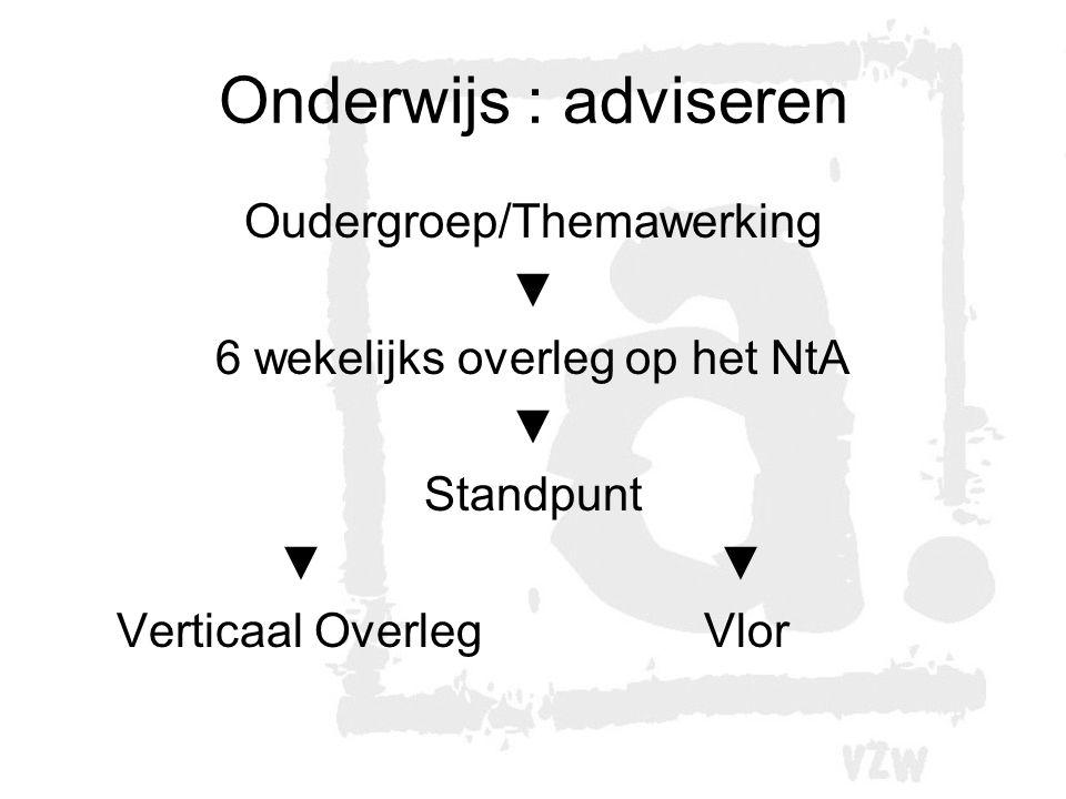 Onderwijs : adviseren Oudergroep/Themawerking ▼ 6 wekelijks overleg op het NtA ▼ Standpunt ▼ Verticaal OverlegVlor