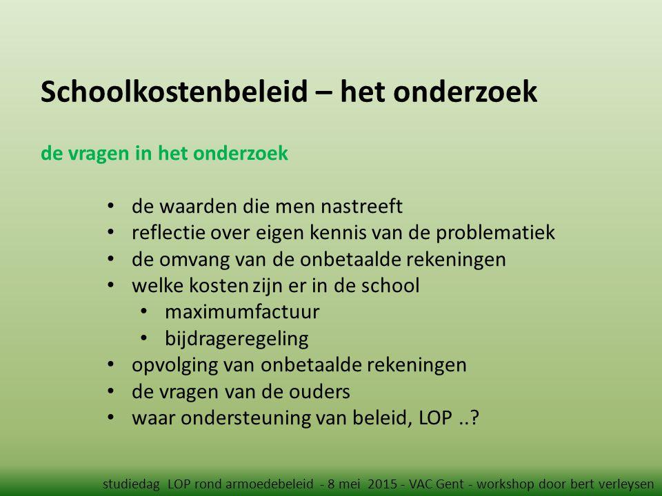 Schoolkostenbeleid – het onderzoek studiedag LOP rond armoedebeleid - 8 mei 2015 - VAC Gent - workshop door bert verleysen de vragen in het onderzoek