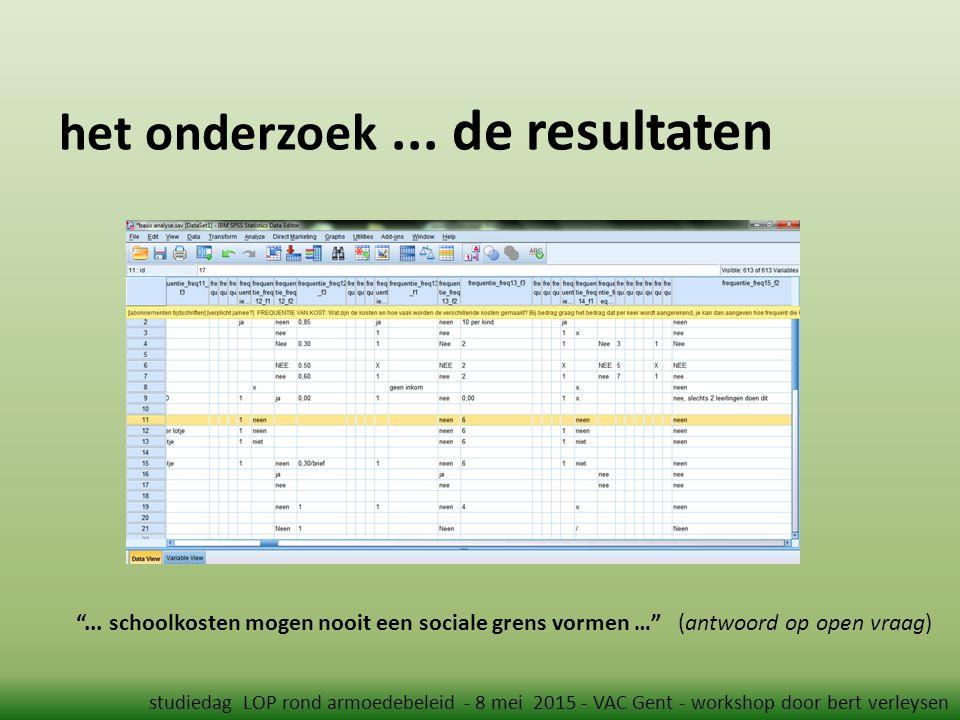 """het onderzoek... de resultaten studiedag LOP rond armoedebeleid - 8 mei 2015 - VAC Gent - workshop door bert verleysen """"... schoolkosten mogen nooit e"""