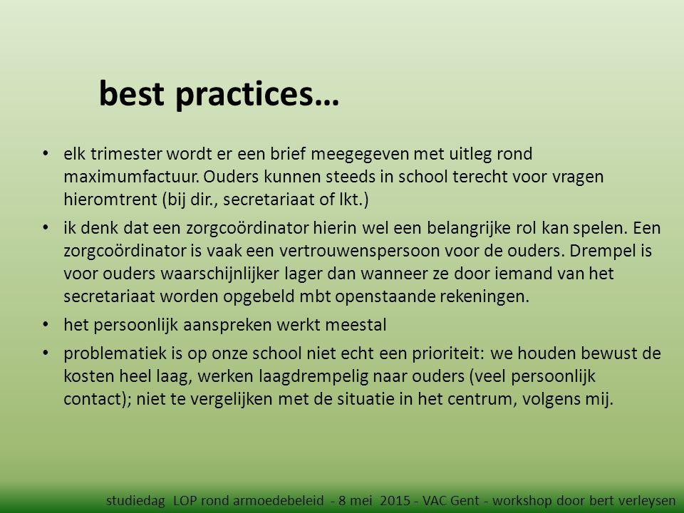 best practices… studiedag LOP rond armoedebeleid - 8 mei 2015 - VAC Gent - workshop door bert verleysen elk trimester wordt er een brief meegegeven met uitleg rond maximumfactuur.