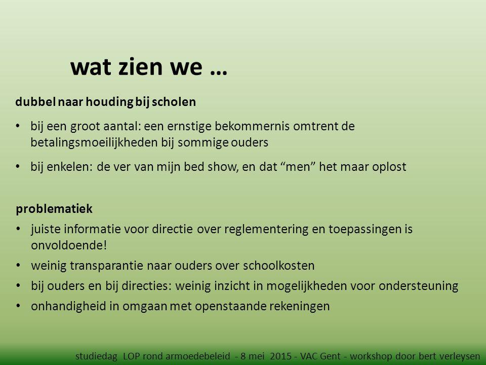 wat zien we … studiedag LOP rond armoedebeleid - 8 mei 2015 - VAC Gent - workshop door bert verleysen problematiek juiste informatie voor directie over reglementering en toepassingen is onvoldoende.