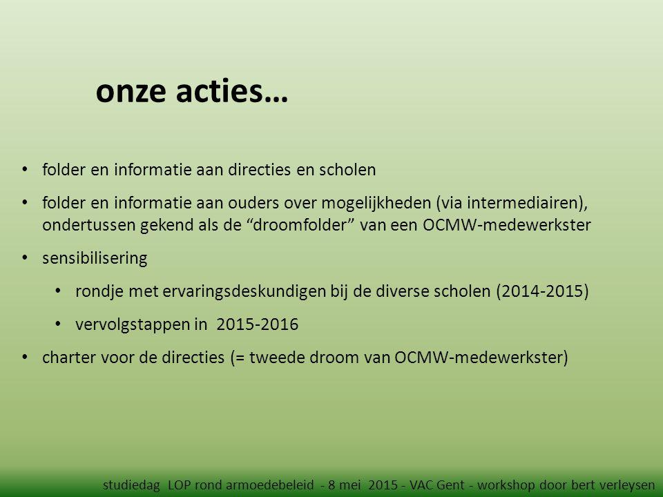 onze acties… studiedag LOP rond armoedebeleid - 8 mei 2015 - VAC Gent - workshop door bert verleysen folder en informatie aan directies en scholen folder en informatie aan ouders over mogelijkheden (via intermediairen), ondertussen gekend als de droomfolder van een OCMW-medewerkster sensibilisering rondje met ervaringsdeskundigen bij de diverse scholen (2014-2015) vervolgstappen in 2015-2016 charter voor de directies (= tweede droom van OCMW-medewerkster)