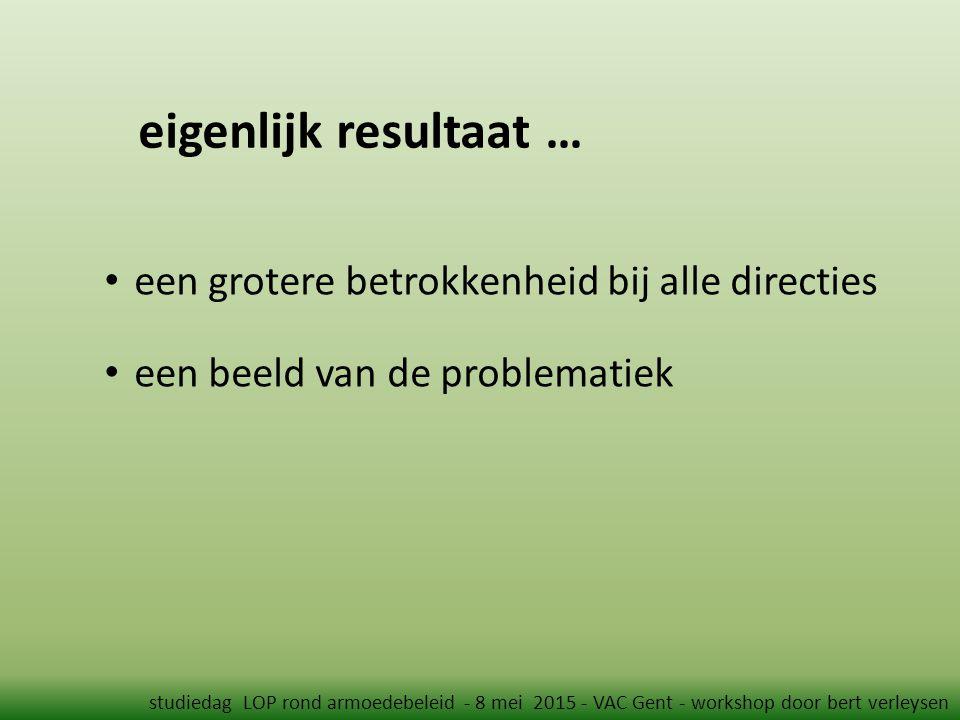 eigenlijk resultaat … studiedag LOP rond armoedebeleid - 8 mei 2015 - VAC Gent - workshop door bert verleysen een grotere betrokkenheid bij alle directies een beeld van de problematiek