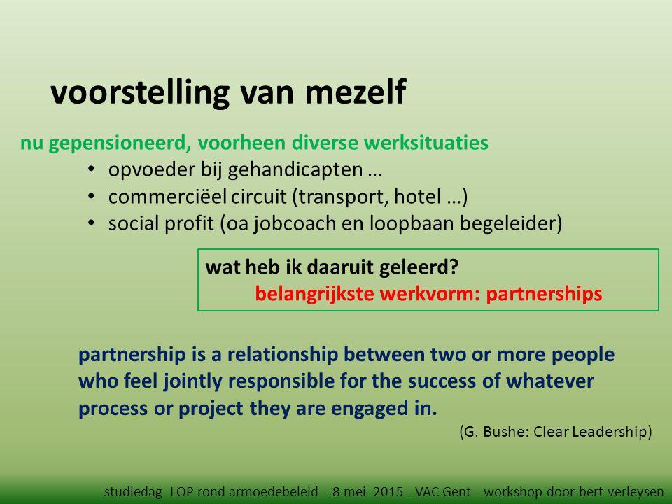 voorstelling van mezelf studiedag LOP rond armoedebeleid - 8 mei 2015 - VAC Gent - workshop door bert verleysen nu gepensioneerd, voorheen diverse wer