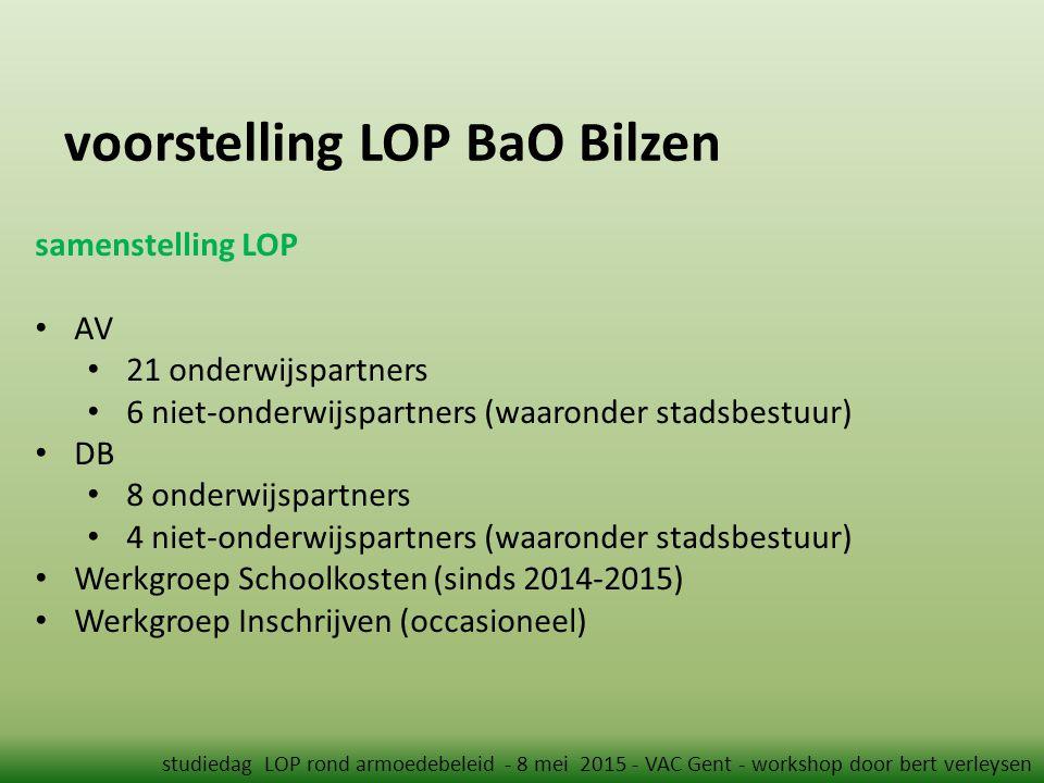 voorstelling LOP BaO Bilzen studiedag LOP rond armoedebeleid - 8 mei 2015 - VAC Gent - workshop door bert verleysen samenstelling LOP AV 21 onderwijsp