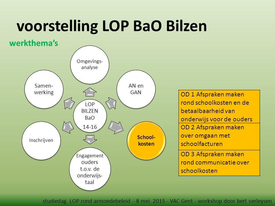 voorstelling LOP BaO Bilzen studiedag LOP rond armoedebeleid - 8 mei 2015 - VAC Gent - workshop door bert verleysen werkthema's OD 1 Afspraken maken r