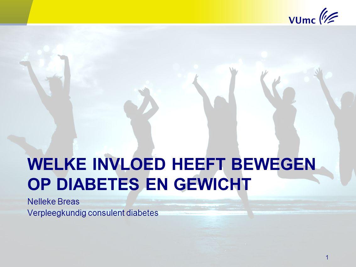 WELKE INVLOED HEEFT BEWEGEN OP DIABETES EN GEWICHT Nelleke Breas Verpleegkundig consulent diabetes 1