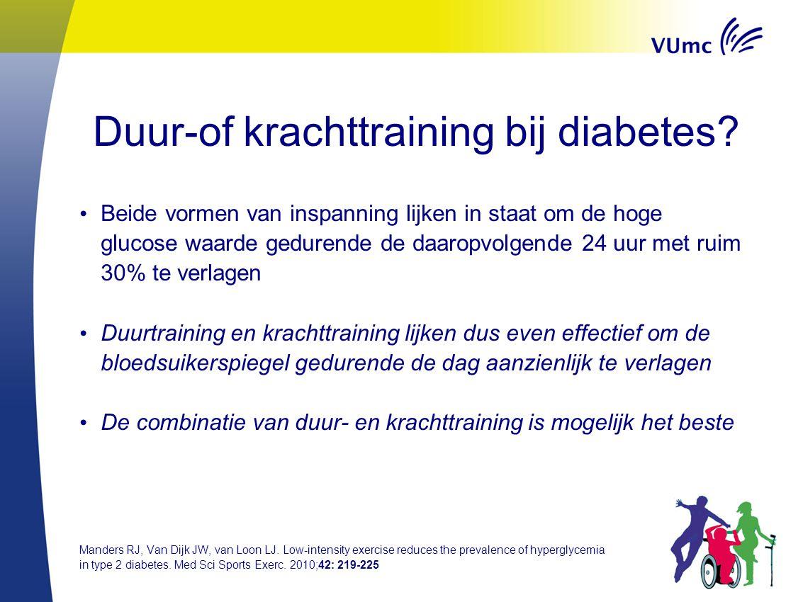 Duur-of krachttraining bij diabetes? Beide vormen van inspanning lijken in staat om de hoge glucose waarde gedurende de daaropvolgende 24 uur met ruim